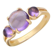 """Золотое кольцо с тремя полудрагоценными камнями в форме """"гладкий шар"""""""