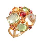 Кольцо Леденцы с гранатом, хризолитом, цинтиром и кварцем, красное золото 585 проба