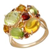 Кольцо, красное золото, букет полудрагоценностей разной формы