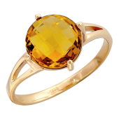 Кольцо, красное золото, полудрагоценный камень с огранкой, 585 проба