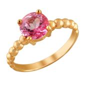 Кольцо с розовым топазом из красного золота 585 пробы