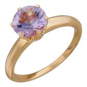 Кольцо с большим круглым аметистом, красное золото