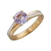 Кольцо с круглым аметистом и фианитами, красное золото