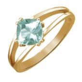 Кольцо с зеленым аметистом из красного золота 585 пробы