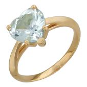 Кольцо с топазом Сердце, красное золото