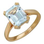 Кольцо с большим топазом (аметистом, розовым топазом) в держателях-сердечках, красное золото