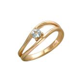 Кольцо с аквамарином из красного золота 585 пробы