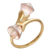 Кольцо Цветы с кварцем (аметистом), красное золото