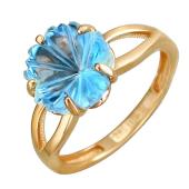 Кольцо Цветы с топазом, красное золото