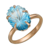 Кольцо Цветок с топазом из красного золота 585 пробы