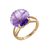 Кольцо Цветок с аметистом из красного золота 585 пробы