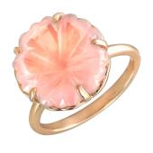 Кольцо Цветы с кварцем, красное золото