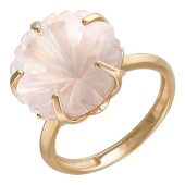 Кольцо Цветы с кварцем (топазом), красное золото