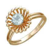 Кольцо с бесцветны топазом из красного золота 585 пробы