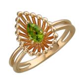 Кольцо Колибри с хризолитом, красное золото