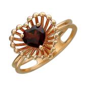 Кольцо Колибри Сердце с аметистом (гранатом), красное золото