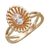 Кольцо с топазом из красного золота 585 пробы