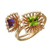 Кольцо Колибри с квадратными аметистом и хризолитом, красное золото