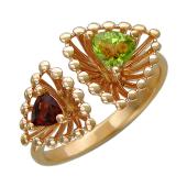 Кольцо Колибри с треугольными гранатом и хризолитом, красное золото
