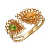 Кольцо Колибри с цитрином и хризолитом из красного золота 585 пробы