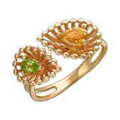 Кольцо Колибри с хризолитом и цитрином, красное золото