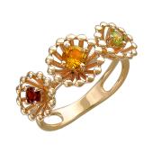 Кольцо Колибри с гранатом, цитрином и хризолитом, красное золото