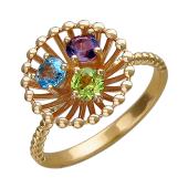 Кольцо Колибри с топазом, аметистом и хризолитом, красное золото