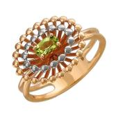 Кольцо с хризолитом из красного золота 585 пробы
