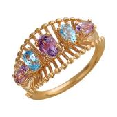 Кольцо Колибри с топазами и аметистами, красное золото