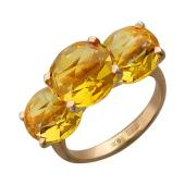 Кольцо с тремя круглыми цитринами (аметистами), красное золото