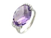 Золотое кольцо с полудрагами формы бриолетт овал и фианитами, белое золото