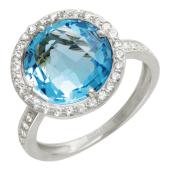 Кольцо, белое золото, круглая полудрагоценнвя вставка в окружности из фианитов
