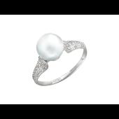 Кольцо с белым жемчугом и фианитами, белое золото 585 проба