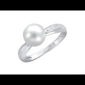 Кольцо с белым жемчугом и фианитами из белого золота 585 пробы