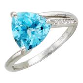 Золотое кольцо, полудраг треугольной округлой формы, белое золото