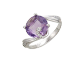 Кольцо с крупным празиолитом огранки бриолетт (топаз, аметист, кварц), белое золото