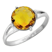 Кольцо с кварцем из белого золота 585 пробы