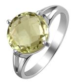 Кольцо с лимонным кварцем из белого золота 585 пробы