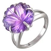 Кольцо Цветы с аметистом, белое золото