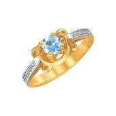 Кольцо с круглым топазом и дорожкой фианитов, желтое золото 585 проба