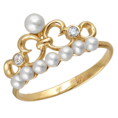 Кольцо Корона с белым жемчугом и прозрачными фианитами из желтого золота 585 пробы