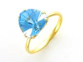 Золотое кольцо, желтое золото, крупный треугольный полудрагоценный камень