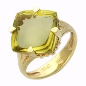 Кольцо с крупным аметистом/кварцем, желтое золото