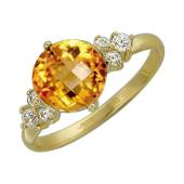 Кольцо с круглым цитрином и фианитами, желтое золото