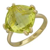 Кольцо с большим топазом бриолет антик, желтое золото