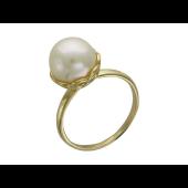 Кольцо с белым жемчугом в фигурном держателе, желтое золото 585 пробы