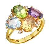 Кольцо с аметистом, топазом, цитрином, хризолитом и прозрачными фианитами из желтого золота 585 пробы