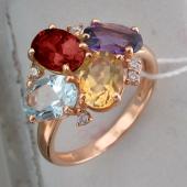 Кольцо с гранатом, топазом, цитрином, аметистом и прозрачными фианитами из желтого золота 585 пробы