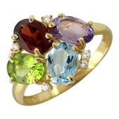 Кольцо с аметистом, топазом, хризолитом, гранатом, цитрином и фианитами, желтое золото 585 пробы