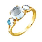 Кольцо с топазами огранки Кабашон из желтого золота 585 пробы